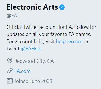 EA handle Twitter Marketing