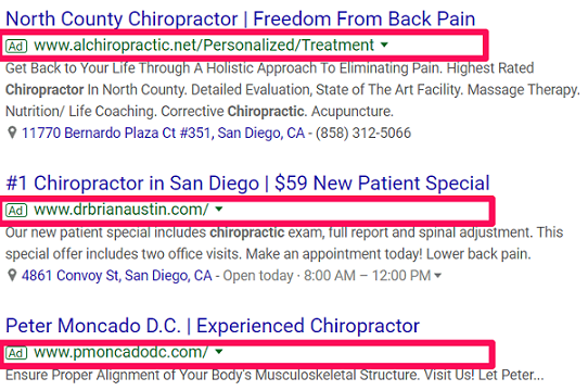 chiropractic advertising